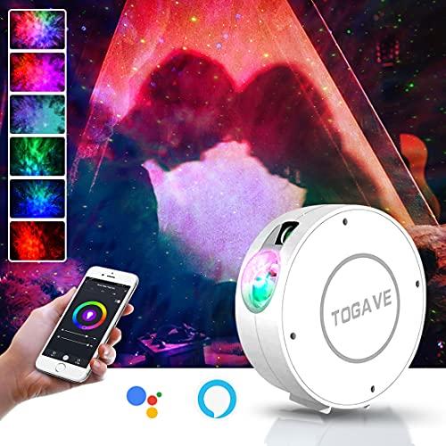LED Alexa Proyector Estrellas, TOGAVE WIFI Inteligente luz Nocturna, 16 Millones de Colores RGB Dimming+Lámpara de Proyección LED de 4 Escenas Adecuado para Niños/Adultos, Fiestas/Dormitorios/Bares