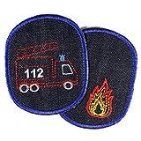 Flicken zum aufbügeln Feuerwehr 2 Bügelflicken 10 x 8cm Rettungswagen Hosenflicken Feuerwehrauto Knieflicken Aufbügler Fahrzeug 112 Bio Jeansflicken