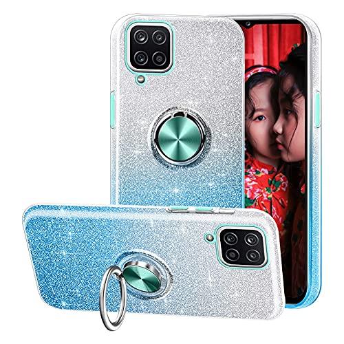 Compatible con el Estuche Samsung Galaxy A12,Funda de teléfono Brillante 3 en 1,Anillo Giratorio de 360 ° para Soportes magnéticos para automóvil,adecuadoSamsung Galaxy A12-Azul