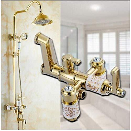 Zixin Badewanne Dusche Wasserhahn Gold-Dusche-Kopf-Hahn-Badewannen-Hahn-Set der Wand befestigtes Badezimmer Regendusche Wasserhahn Set