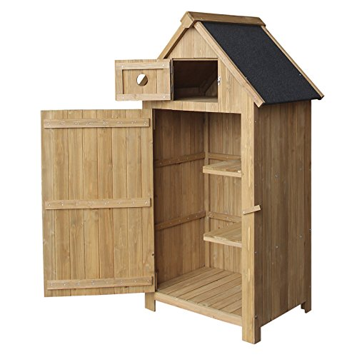 WilTec Slim Garden Cabinet made of Fir Wood with Bitumen Roof for Storage, 770x540x1420mm