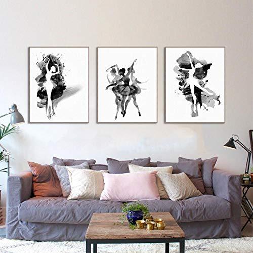 zszy Cartel de la Lona Impresiones Arte de la Pared Acuarela Bailarina de Ballet Chica Pintura Imagen Modular Decoración del hogar Sala de estar-40x60cmx3 Piezas sin Marco