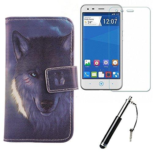 Lankashi Wolf Design PU Flip Leder Tasche Für ZTE Blade L110 A110 4