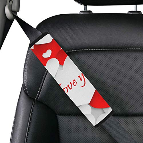 Red Love Best Happiness Comfort Seat Belt Covers Convertible Car Seat Belt Covers Universal Soft Comfort Protect Men Women Neck and Shoulder