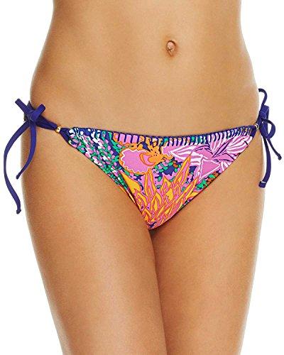 Trina Turk Women's Side Tie Hipster Bikini Swimsuit Bottom, Green/Pink/Purple/Tropical Escape, 8