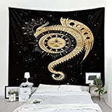 KHKJ Cielo Estrellado patrón de tótem Tapiz Mandala Tapiz Luna Sol Blanco Negro Tapiz Hippie decoración de la habitación Tapiz A7 200x150cm