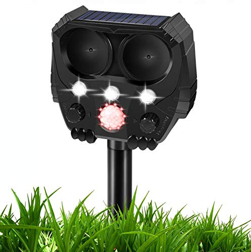 Dog Cat Repellent, 2020 Ultrasonic Pest Repellent with Motion Sensor and Flashing Lights Outdoor Solar Powered Waterproof Farm Garden Yard Repellent, Cats, Dogs, Foxes& Birds (Black)