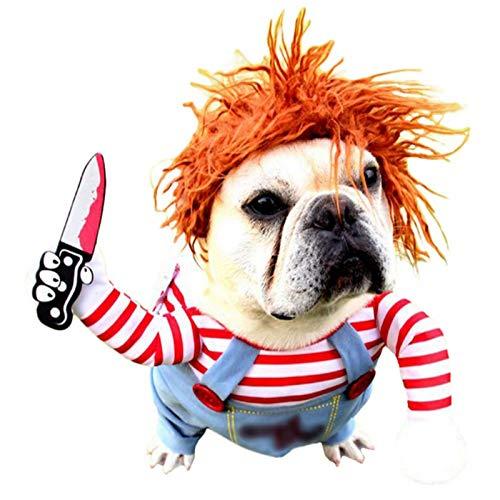 Disfraz de Perro Mortal para Perro de Miedo, Ropa de Halloween, Cosplay, muñeca Chucky, Disfraz de Perro, para Fiestas de Perro, Ideal para Perros Grandes y pequeños