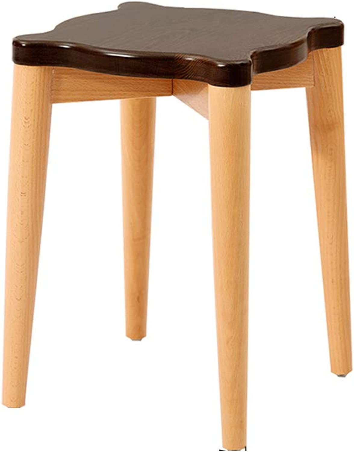 SYFO Household Simple Solid Wood Dining Table Stool Can Be Stacked Design Wear-Resistant Dressing Stool Stool (color   Brown)