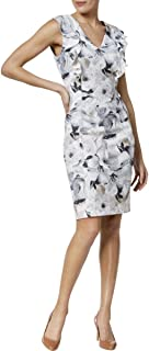 Womens Printed V-Neck Ruffle Dress