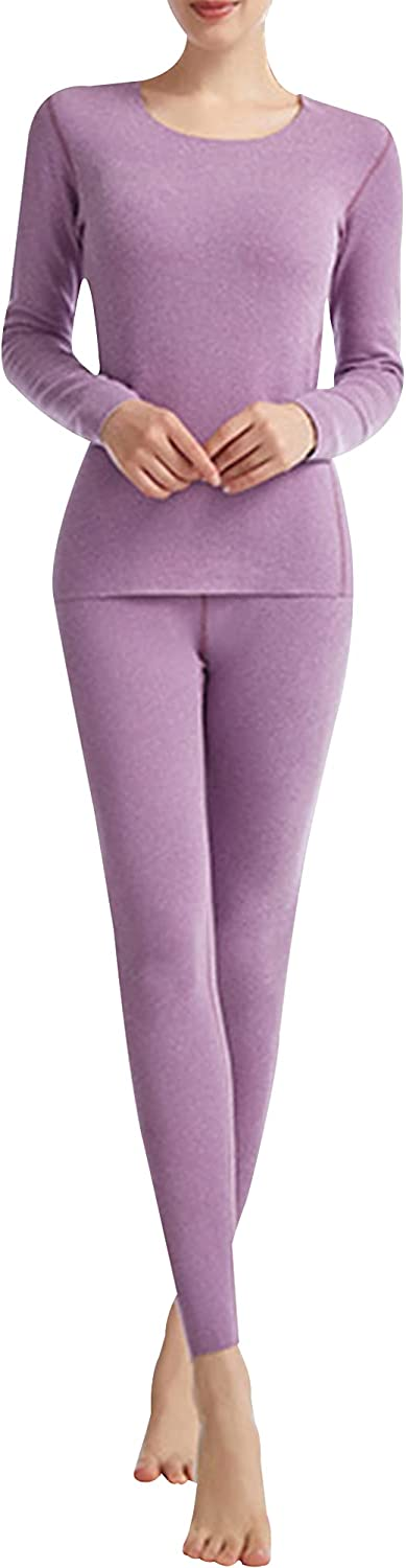 Hixiaohe Women's Thermal Underwear Ultra-Soft Base Layer Long Johns Set Warm Top and Bottom Suits