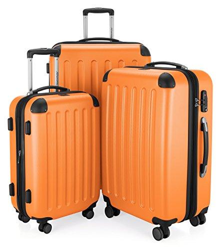HAUPTSTADTKOFFER - Spree - 3er Koffer-Set Trolley-Set Rollkoffer Reisekoffer Erweiterbar, TSA, 4 Rollen, (S, M & L), Orange