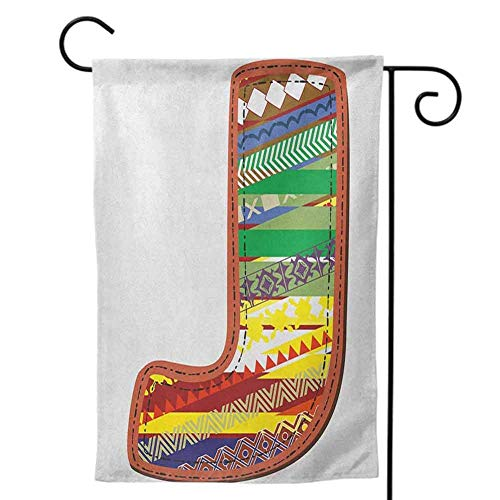 Garden Flags Double-Sided Polyester Outdoor Yard flag Welcome Bright and Shine Mini for Letter J Alphabet and Nature Tropical Biological Monarch of Wings Typeset Abc Multicolor Decorative 12x18