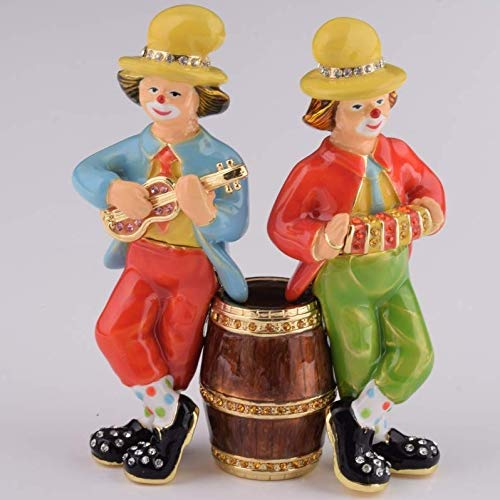 Keren Kopal Two Clowns Playing Music Figurine Trinket Box Decorated with Swarovski Crystals Unique Handmade Gift Home Office Decor
