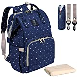 Qimiaobaby Diaper Bag Backpack,Waterproof Multifunctional Large Travel Nappy Changing Bags… (Blue dot)