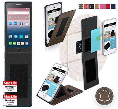 Hülle für Alcatel OneTouch Pop Star 4G Tasche Cover Hülle Bumper   Braun Wildleder   Testsieger