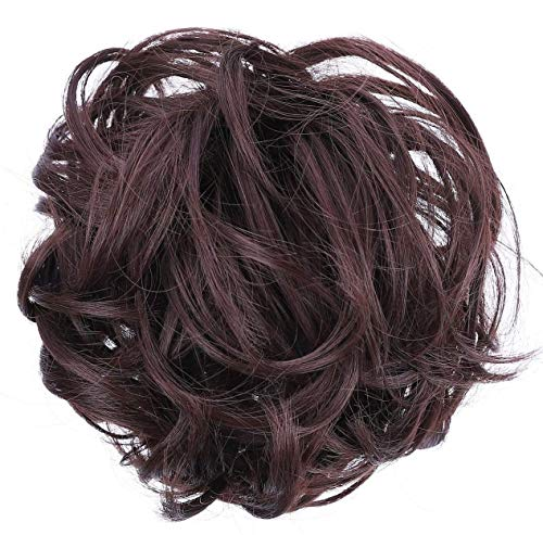 JuvaBun Messy Bun Hair Scrunchie – Hair Extensions for Women & Men Create Full Updos for Events, Everyday Wear – Washable, Realistic, Synthetic Juva Hair Bun Maker & Resealable Bag, Dark Brown