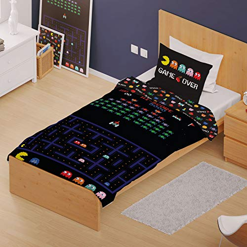 Retro Games Single/Double Duvet Cover Reversible Bedding Set Gaming (Single Duvet)
