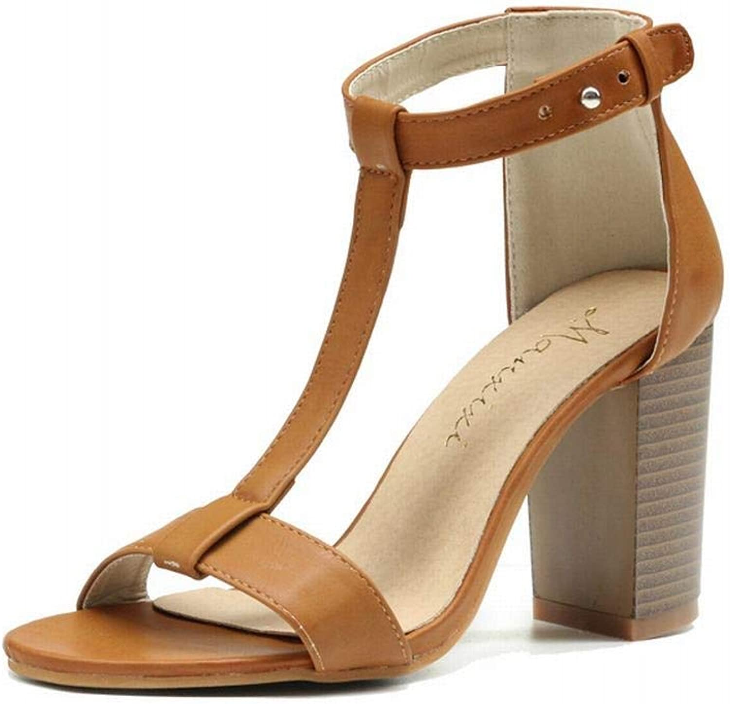 Kirabon Women's High-Heeled Sandals Wood Grain Thick with Sandals Fashion Wild High-Heeled shoes (color   Brown, Size   39)