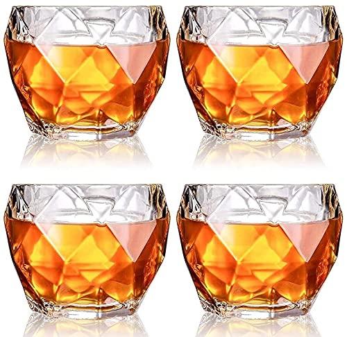 QZMX Decantador Gafas de Whisky de Cristal, Gafas escocesas Premium, Gafas de Bourbon para cócteles, Estilo de Roca, vitrinas de Bebida Antiguas, Conjunto de 4, Decantador de Vino de Cristal