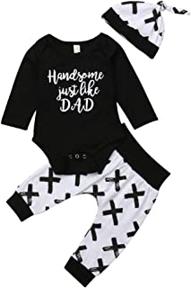 Newborn Baby Boy Clothes Outfit Set Long Sleeve Romper Jumpsuit Pants Leggings Hat Handsome Just Like Dad