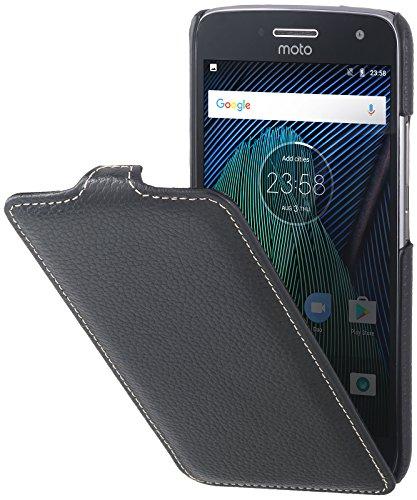 StilGut UltraSlim Case Hülle Leder-Tasche für Lenovo Moto G5 Plus. Dünnes Flip-Case vertikal klappbar aus Echtleder für das Original Lenovo Moto G5 Plus, Schwarz
