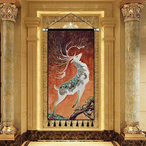 mmzki Klassischen skandinavischen Stil übergroßen Leinwand Malerei Landschaftsmalerei Kunst Dekoration Malerei Veranda Wohnzimmer Hintergrund Dekoration Rollbild A 50X100CM
