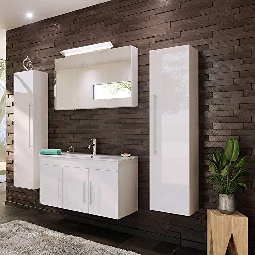 Lomadox - Mueble de baño con lavabo de 100 cm en color blanco brillante y armario con espejo LED