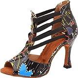 Chaussures de danse latine pour femme Tango Cha-Cha Salsa 4 élastiques Talon personnalisé - Noir - Noir , 43 EU