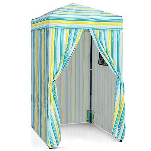 EAGLE PEAK Flex Ultra Compact 4'x4' Pop-up Changing Room Canopy, Portable Privacy Cabana for Pool, Fashion Photoshoots, or Camping (Blue/Green/Yellow)