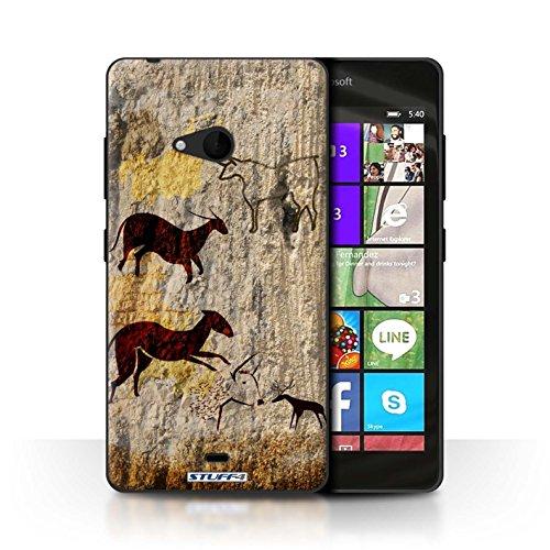 STUFF4 telefoonhoesje/hoes voor Microsoft Lumia 540 (zwart/wit) / dieren/bruin ontwerp/grot schilderij collectie