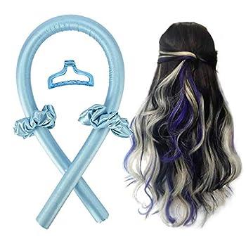 Heatless Hair Curling Ribbon kit,Women Heatless Hair Curlers for Long Hair,Curling Ribbon and Flexi Rods for Natural Hair