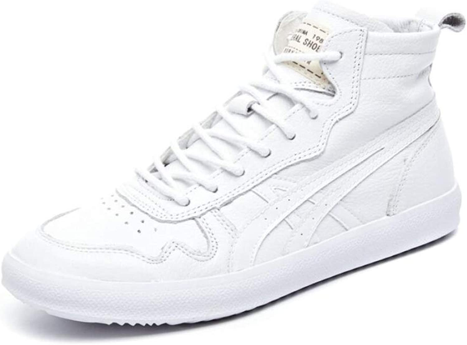 ALHM Leather Fashion Wild High-top Sports Casual Ladies White shoes