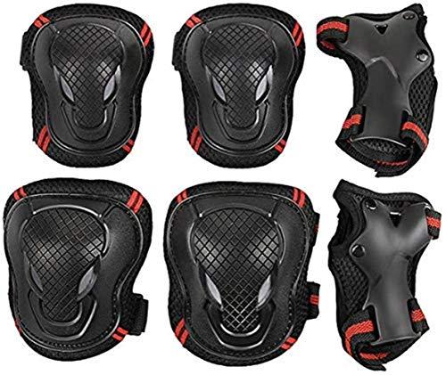 6pcs Protektoren Set rutschfest Schutzausrüstung Set für Jugendliche Erwachsene Schoner Set mit Handgelenkschoner Knieschoner Ellenbogenschoner Schützer Set für Skateboard Roller Radfahren S/M/L