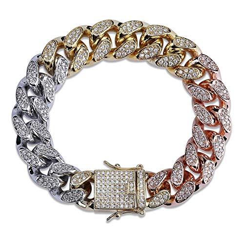 SHINY.U 14mm 18K Gold Plated Hip Hop Iced out CZ Lab Diamond Miami Cuban Link Chain Bracelet for Men and Women(Tricolor,7)