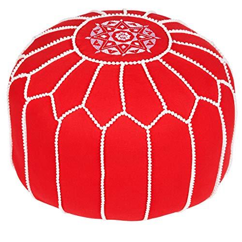 Asiento Redondo Pouf en algodón Chems Rojo ø 45cm Sin relleno | Cojín de asiento Cojín de suelo Cojines Orientales | Taburete de asiento Taburete de pie bordado como decoración oriental