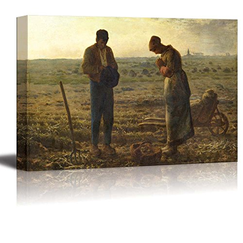 wall26 - The Angelus by Jean-Francois Millet - Canvas Print Wall Art Famous Painting Reproduction - 24