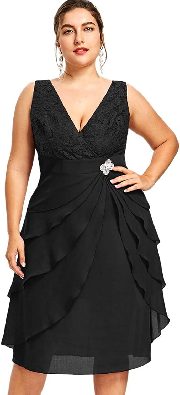 GMZVV Skirt Women Party Dress Plus Size 5xl Sleeveless Tiered Prom V Neck Layered Dress Elegant Sleeveless A-line Formal Dress Female Dressed With Temperament And Elegance 4XL Black