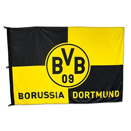 Borussia Dortmund BVB 11000400 Hissfahne mit Karo-Muster, Schwarz/Gelb, 180 x 120 x 1 cm