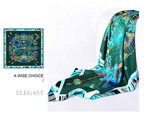 ZWQ Satinschal Gedruckt Frauen Seidenschal Fashion Square Schals Bandana Kopftücher Weibliche Hijab 106 * 106 cm,B