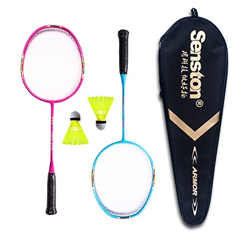 Senston Graphite Mini Badminton Set Junior Badminton Racket Kit Outdoor Sport Game Set,Gifts for Kids- Red and Blue