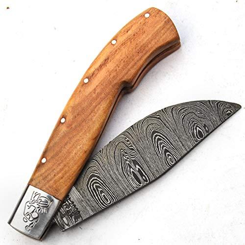 Cuchillos de Damasco - Cuchillo hecho a mano de acero de Damasco con vaina - Patrón de Damasco esgrimido - Manipulación de superficie - Patrón grabado - Antióxido - Cuchillo hoja desbloqueada 9699