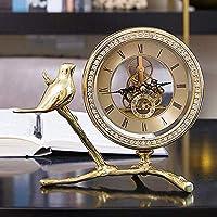 メタルマンテル高級卓上時計、電池式サイレントマントル時計リビングルーム装飾デスク棚装飾時計オフィスキッチン棚家の装飾