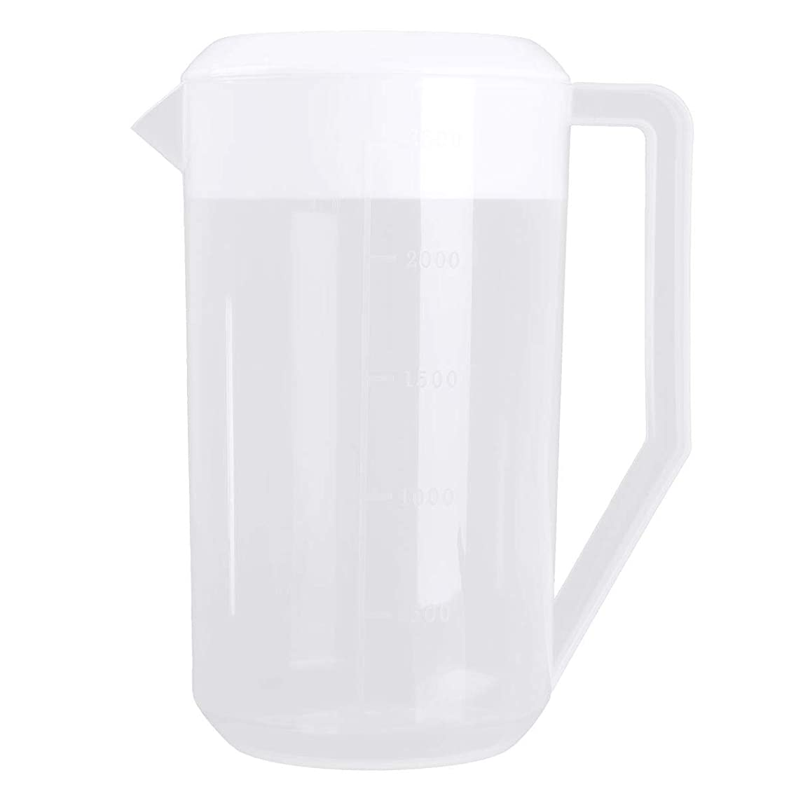 CHICTRY 2500ML Plastic Measuring Water Pitcher Jug Large Capacity Beverage Drink Pitcher with Lid and Handle for Cold Water Ice Tea Juice Beer White One Size