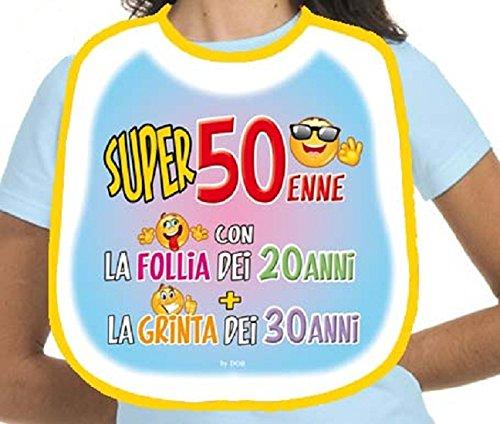 BAVAGLIONE 50 ANNI - Gadget stampato idea regalo festa 50° Compleanno
