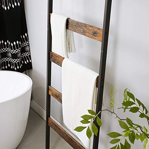 VASAGLE ALINRU Blanket Ladder Shelf, Wall-Leaning Rack with Storage Shelf, Steel Frame, for Blankets, Scarves, Industrial Style, Rustic Brown and Black ULLS012B01