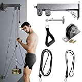 at Home Gym DIY Press Down Pulley Cable Machine Attachment System with Loading Pin LAT Pulldown Bar...