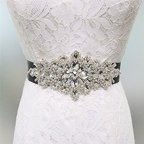 Zdada - Cinturón de boda elegante para vestido de novia, banda para vestido de novia, con diamantes de imitación, 8 opciones de color, materiales sintéticos, negro, RA004