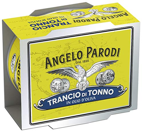Angelo Parodi Solid Yellowfin Tuna in Olive Oil | 2 Pack | Imported From Italy | Wild Caught | Gourmet All Natural | Premium Fish in 5.29 oz can (150 Gram)