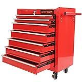 Arebos Chariot d'atelier / 7 Tiroirs/Verrouillable / 4 Roulettes/Tapis antidérapants/rouge, bleu ou noir (Rouge)